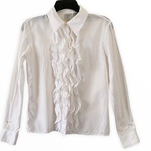 DKNY White Long Sleeve Buttons Down Top